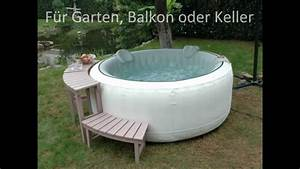 Whirlpool aufblasbar fur garten balkon oder keller youtube for Whirlpool garten mit katzensicherer balkon