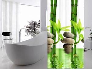 Duschvorhang Mit Foto : textil duschvorhang 120x200cm bambus mit stein wei gr n inkl ringe kaufen bei ekershop ~ Markanthonyermac.com Haus und Dekorationen