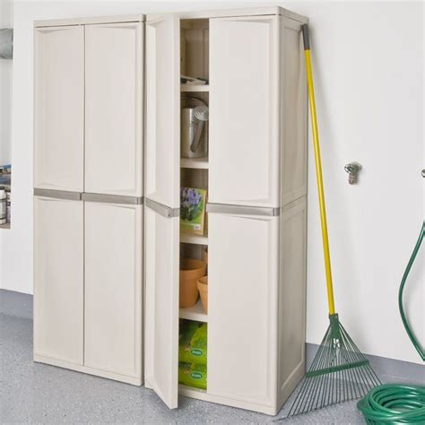Sterilite 4 Shelf Cabinet Putty by Sterilite 01428501 Organizes The Utilities Neatly