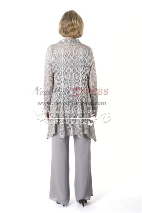 silver grey stretch lace outfit mother   bride pant suit nmo