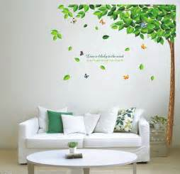 diy green tree and butterfly removable vinyl wall decal