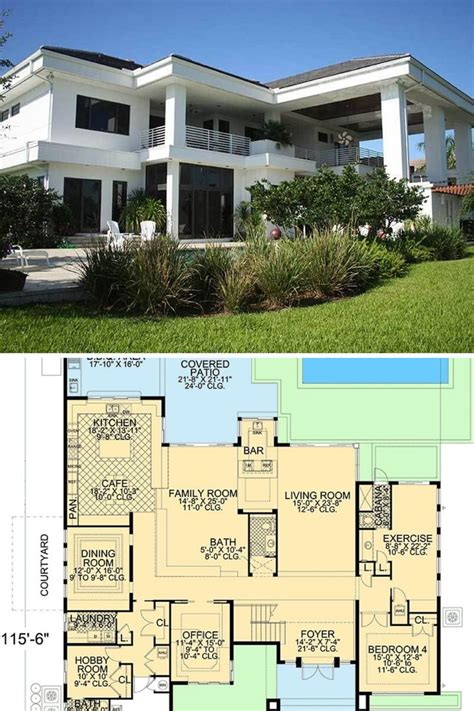 bedroom  story contemporary florida style home floor plan florida house plans