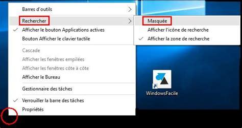 windows 10 supprimer la barre de recherche