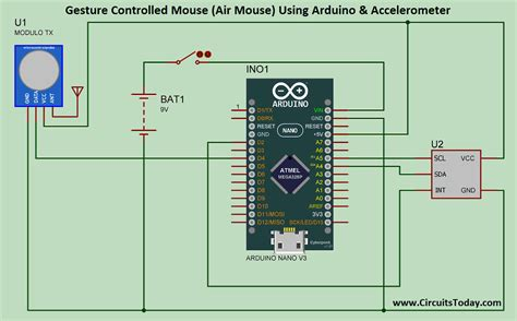 Usb Mouse Wiring Diagram Power by Gesture Controlled Mouse Air Mouse Using Arduino