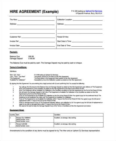 sample equipment contract forms