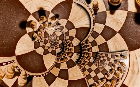 digital art recursion chess pawns board games spiral