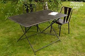 Table Pliante Metal : compi gne garden table entirely metal folding table ~ Teatrodelosmanantiales.com Idées de Décoration