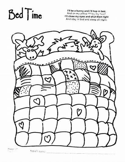 Coloring Pages Night Bed Bedtime Quilt Sheet