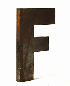 Industrial rustic metal large letter f 36 inch kathy kuo for Metal letter f