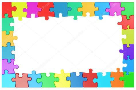 frame  colored puzzle pieces  rendering stock
