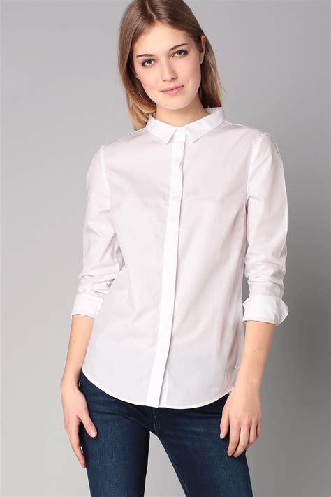 klein blouses calvin klein shirt blouse in white lyst
