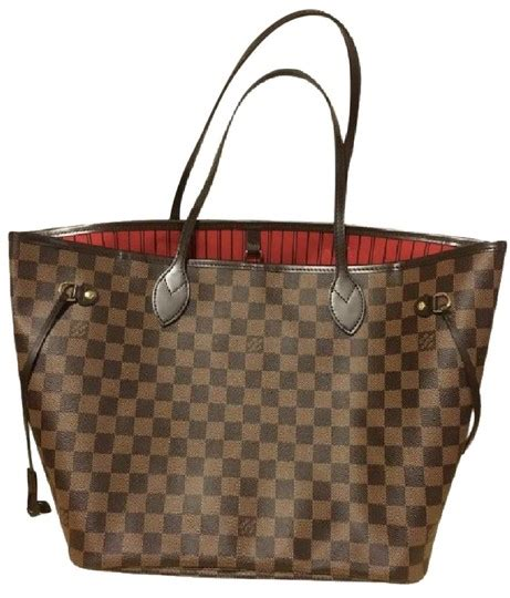 louis vuitton red lining canvas leather neverfull tote tradesy