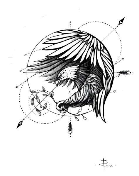 sketch fo tattoo by RUSS --- linework --- eagle | Eagle