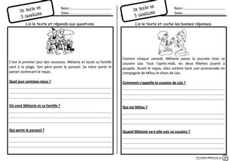 rsum de texte et questions un texte 3 questions lecture compr 233 hension questions