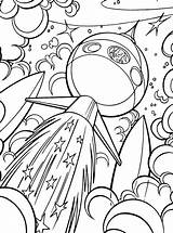 Coloring Galaxy Space Ship Flying Through sketch template