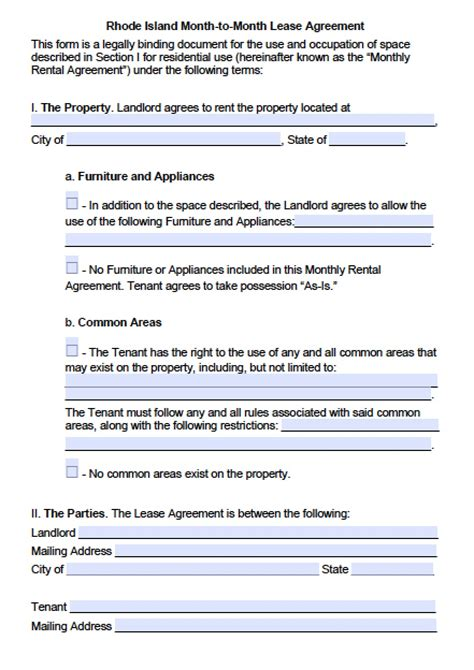 rhode island month  month lease agreement template