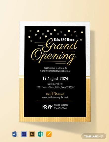 grand opening invitation card template word