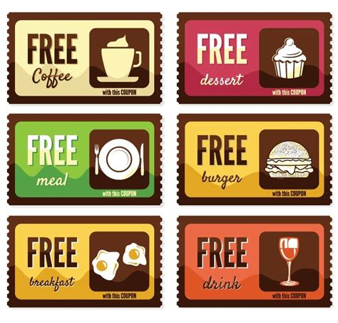 Free Vintage Free Food Coupon Sticker Labels Vector Titanui