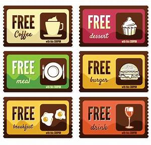 Free vintage free food coupon sticker labels vector titanui for Free meal coupon template