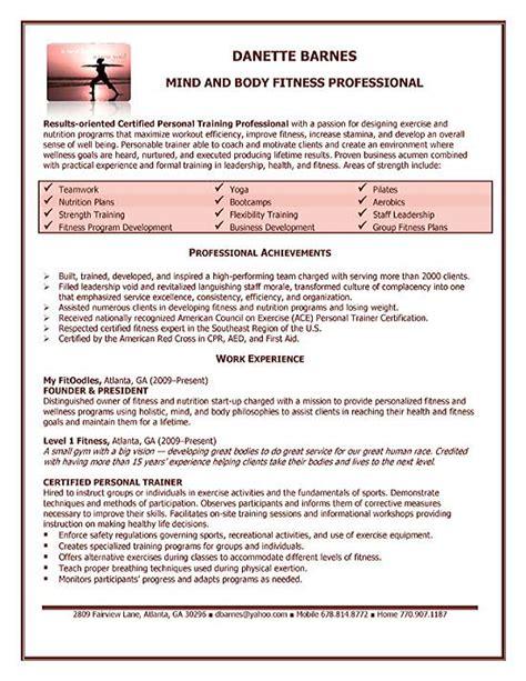 personal trainer resume exle resume exles