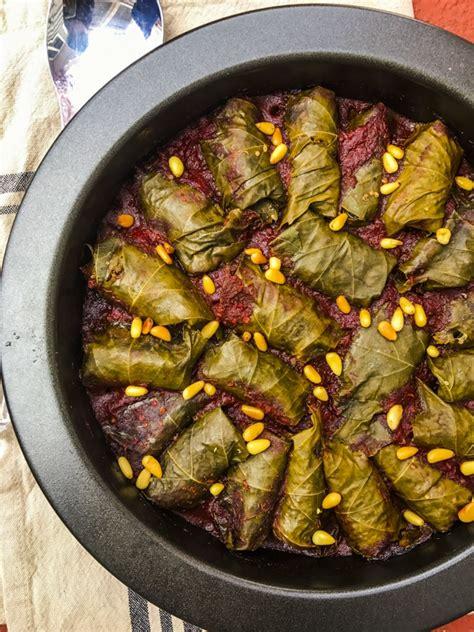 passover quinoa stuffed grape leaves  red