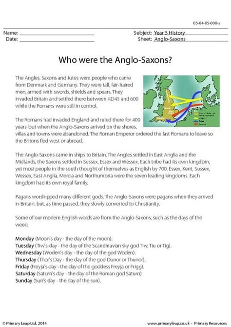 primaryleap co uk who were the anglo saxons information sheet worksheet history printable