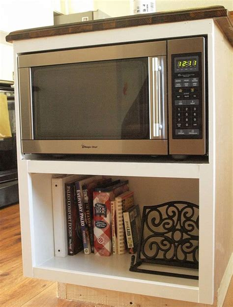 diy custom  counter microwave cabinet built