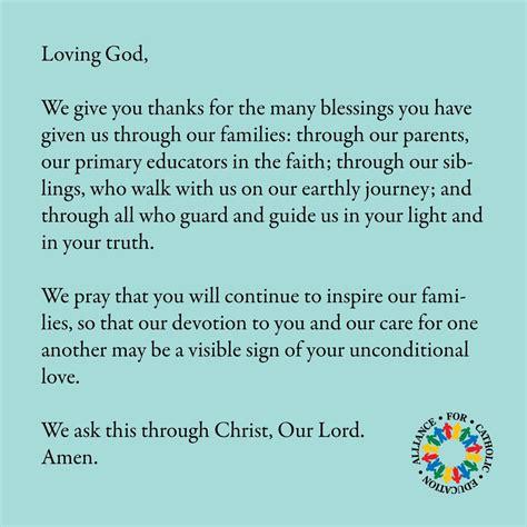 prayer   families alliance  catholic education