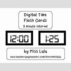 Digital Clock Flashcards 5 Minute Interval Math