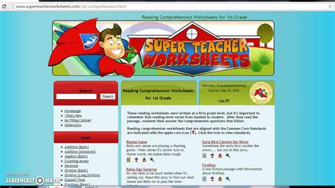check out super teacher worksheets youtube
