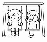 Swing Porch Coloring Pages Jugando Sketch Template Templates Ninos Colorear sketch template
