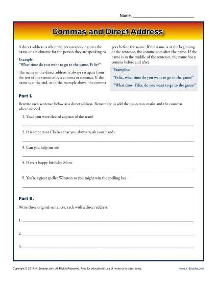 commas and direct address k12 punctuation worksheets worksheets printable worksheets