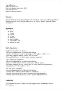 fashion merchandiser resume format professional garment merchandiser templates to showcase your talent myperfectresume
