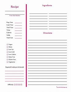 103 best free recipe cards pages images on pinterest With free printable full page recipe templates