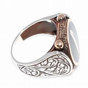 silver bronze mens ring elif letter green enameled mens With mens letter rings