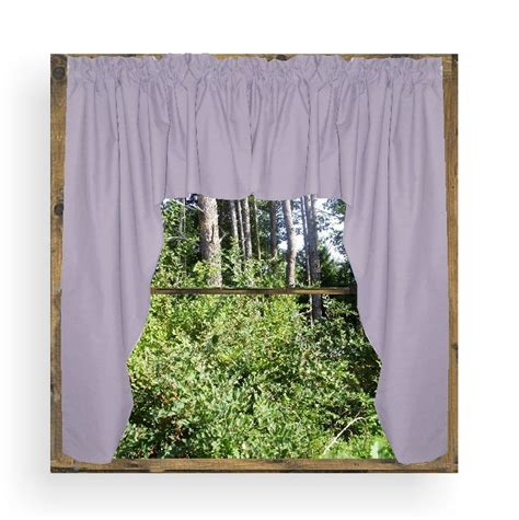 solid light purple lilac colored swag window valance