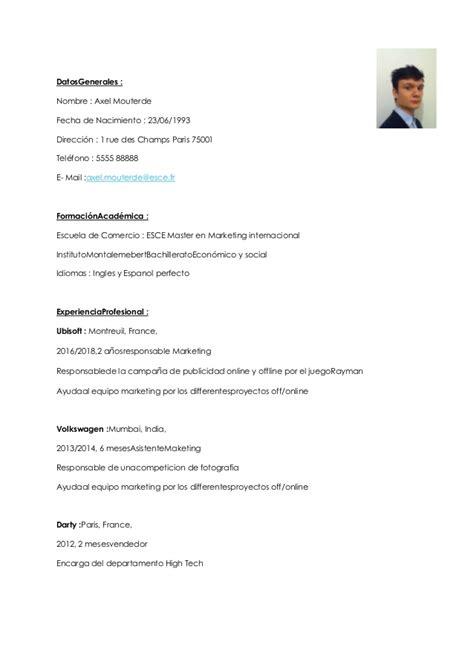 Templates De Resume En Espanol by Resume En Espanol Espanol Cv 24 Templates De Cv Sur