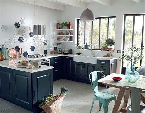 castorama cuisine candide bleu nuit une cuisine