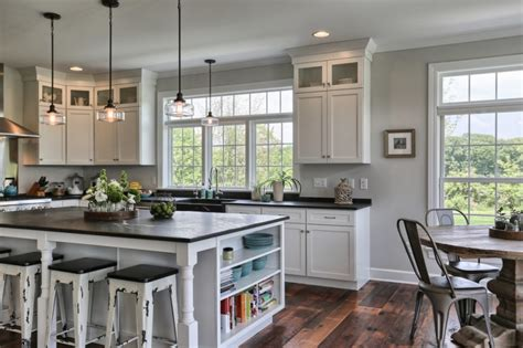 farmhouse kitchen white cabinets black countertops tens of inspiring kitchen islands with storage and chairs