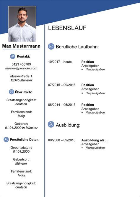 Lebenslauf Vorlage Kostenlos by Lebenslauf Vorlagen Muster Moderne Designs Zum