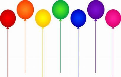 Clipart Party Balloons Clip Rainbow Colors Seven