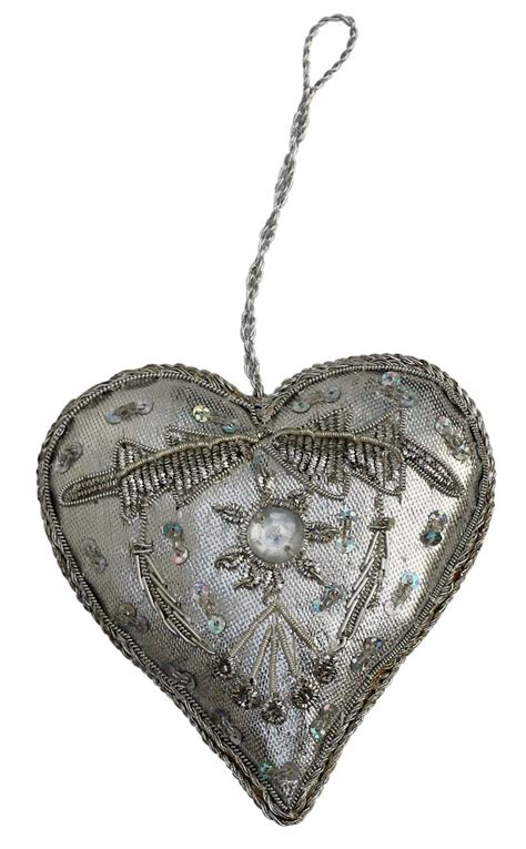 silver heart ornaments silver ornament beaded sequined