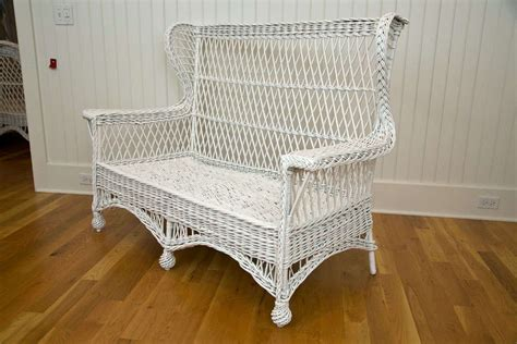 Wing Back Settee by Antique Wicker Wing Back Settee At 1stdibs