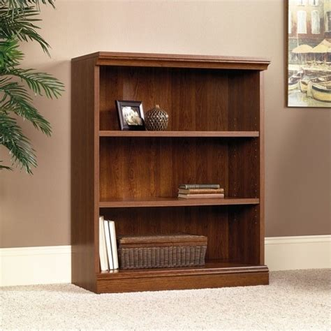 Bookcases Cherry Finish by 3 Shelf Bookcase In Planked Cherry Finish 101783
