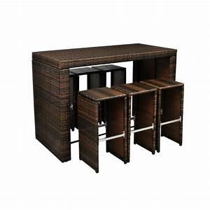 Table De Jardin Tressé : table haute brun avec 6 tabourets de jardin rotin r sine ~ Dailycaller-alerts.com Idées de Décoration