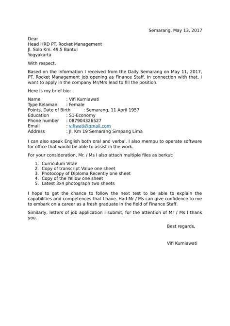 contoh surat lamaran kerja format 7 contoh surat