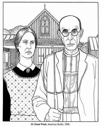 Coloring Pages Gothic American Fine Grant Wood