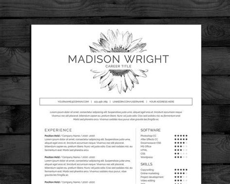 Motif Cv by Professional Resume Template For Word In Black White