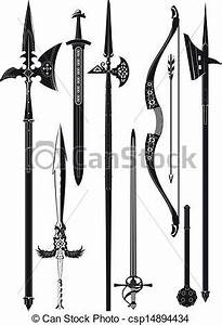 Vectors of collection of medieval weapons - set of ...