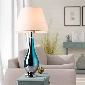 Table, Lamps, Set, Of, 2, Bule, Ombre, Glass, 28, U0026quot, Side, Bedside, Table, U0026, Desk, Lamp, For, Bedroom, Nightstand